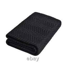 12 Heavy-Duty 80 x 72 Moving Blankets 65 lb/dz Pro Packing Shipping Pads Black