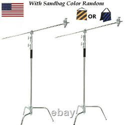 2PCS Professional Heavy Duty C Stand with Gobo Arm Grip Heads Century Stand Kit