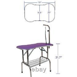 32 Heavy Duty Pet Professional Dog Bone Pattern Foldable Grooming Table Purple