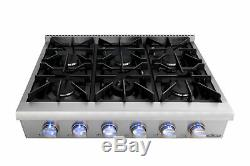 36-Inch Pro Stainless Steel Gas Range Top Stove 6 Burner Kitchen Cooker Cooktop