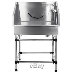 38 Stainless Steel Pet Bath Tub WithFaucet Professional Heavy Duty pet Grooming
