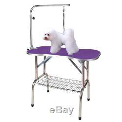 46 Heavy Duty Pet Professional Dog Bone Pattern Foldable Grooming Table Purple