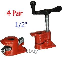 (4 Pack) 1/2 Wood Gluing Pipe Clamp Set Heavy Duty PRO Woodworking Cast Iron