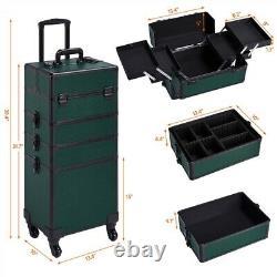 4-in-1 Aluminum Cosmetic Case Dark Green Professional Trolley Makeup Train Case