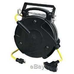 65 Foot 12/3 Industrial Retractable Reel Heavy Duty 4 Tap Ext Cord 8665TFQ
