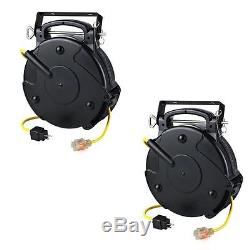 Case of 2 Professional Heavy Duty 65' Industrial Retractable Extension Cord Reel