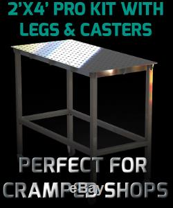 Certiflat 24x48 PRO Top Heavy Duty Welding Table WT2448 WITH LEGS AND CASTERS