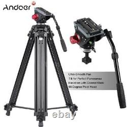Heavy Duty 72&50'' Pro Camera Tripod for DSLR Video Stand Fluid Pan Head with Bag