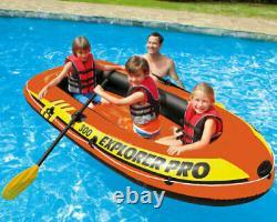 Heavy Duty INTEX Explorer Pro 300 Beach Pool Inflatable Rubber Boat Set 3-Person