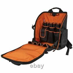 Klein 55655 21 Pockets Tradesman Pro Heavy Duty Tool Station Backpack with Light