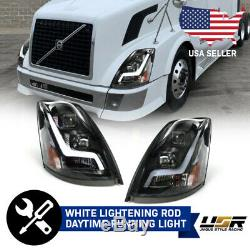 LIGHTNING Bolt LED Light Bar BLACK Projector Headlight For 2004-18 Volvo VNL VNM