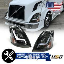 LIGHTNING LED Light Bar Pair BLACK Projector Headlight For 2004-18 Volvo VN VNL