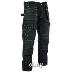 Men Cargo Work Trousers Black Pro Heavy Duty Multi Pockets With Knee Pad WWDTB
