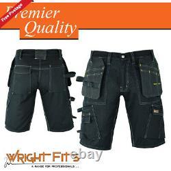 Men Work Cargo Pro Shorts Black Heavy Duty Multi Pockets Waist 34