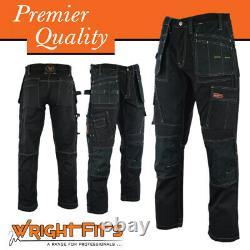 Men Work Cargo Trouser Black Pro Heavy Duty Multi Pockets W30 L33