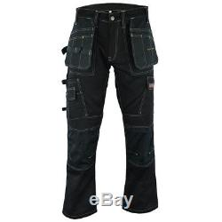 Men Work Cargo Trouser Black Pro Heavy Duty Multi Pockets W32 L31