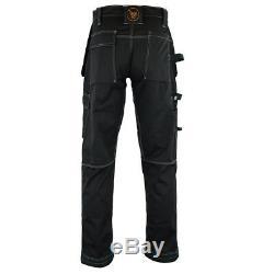 Men Work Cargo Trouser Black Pro Heavy Duty Multi Pockets W32 L33