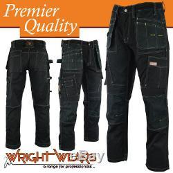 Men Work Cargo Trouser Black Pro Heavy Duty Multi Pockets W36 L31