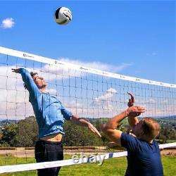 Outdoor Volleyball Set Net Heavy Duty Steel Poles Rope System Bag Official Size