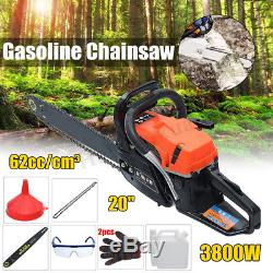 Petro Chainsaw 62cc 20'' Heavy Duty 4200W Gasoline Bar Chain Garden Professional