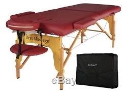 Portable Red Massage Table Professional Therapy Adjustable Height Heavy Duty New