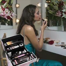 Pro 3 In 1 Rolling Makeup Case Salon Tattoo Nail Art Organizer Trolley Lockable