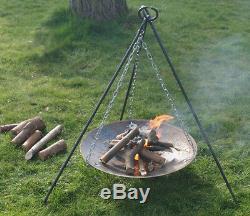Pro BUSHCRAFT / CAMPING Campfire Tripod & Fire Disc Set Heavy Duty