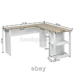 Pro Heavy Duty L Shaped Computer Desk with Shelves Home Work Study Gaming Table