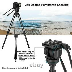 Pro Heavy Duty Video Camera Tripod with Fluid Pan Head For DSLR Camcorder ZOMEI