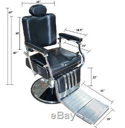Professional Classic Barber Chair Reclinging Black Heavy Duty Vintage Style