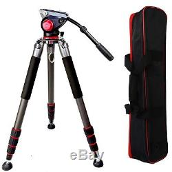 Professional Fluid Pan Head Video Camera Tripod Heavy Duty Kit with 2 Mounts & Bag