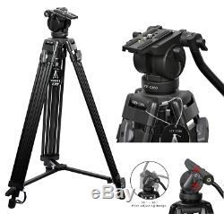 Professional Heavy Duty DV Video Camera Tripod Fluid-Pan Head Kit 1800MM 72 Inch