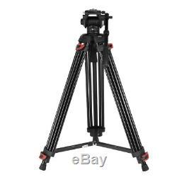 Professional Heavy Duty DV Video Camera Tripod Fluid-Pan Head Kit 1.8m Black