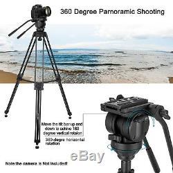 Professional Heavy Duty DV Video Camera Tripod with Fluid Pan Head Kit