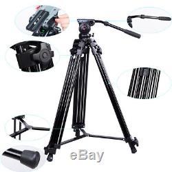 Professional Heavy Duty DV Video Camera Tripod with Fluid Pan Head Kit 72inch