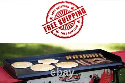 Professional Heavy Duty Steel Deluxe Griddle with Built In Grease Drain, 2 Burne