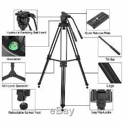 Professional Heavy-duty Tripod Video Camera with Fluid Head Kit for DSLR Camera