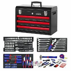 Professional Mechanics Tool Set with 3-Drawer Durable Heavy Duty Metal Box 408 Pc