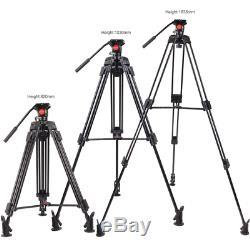 Professional Video Tripod System Heavy Duty Camera with Fluid Head 64/163cm