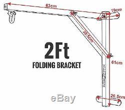 RDX Pro Heavy Duty Punch Bag Folding 2ft Wall Bracket Steel Mount Hanging Boxing