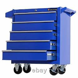 Tool Chest Heavy Duty Cart Steel Rolling Tool Box 5 Drawer Cart TZ35 Blue