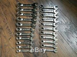 Vintage USA Craftsman Professional Short stubby SAE METRIC 22pc. VV wrench set