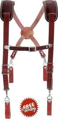 Work Suspenders For Women Men Leather Heavy Duty Spring Clips Thick Professional